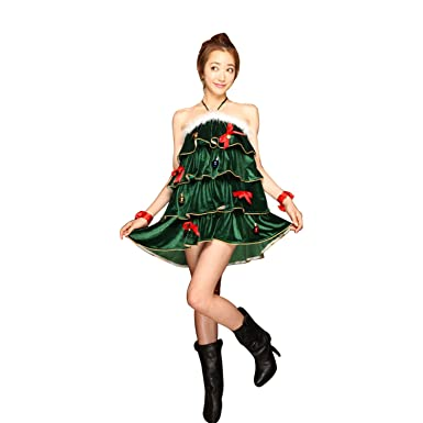 haocloth womens sleeveless halter christmas tree dress sexy christmas tree costumes christmas costume - Christmas Tree Dress