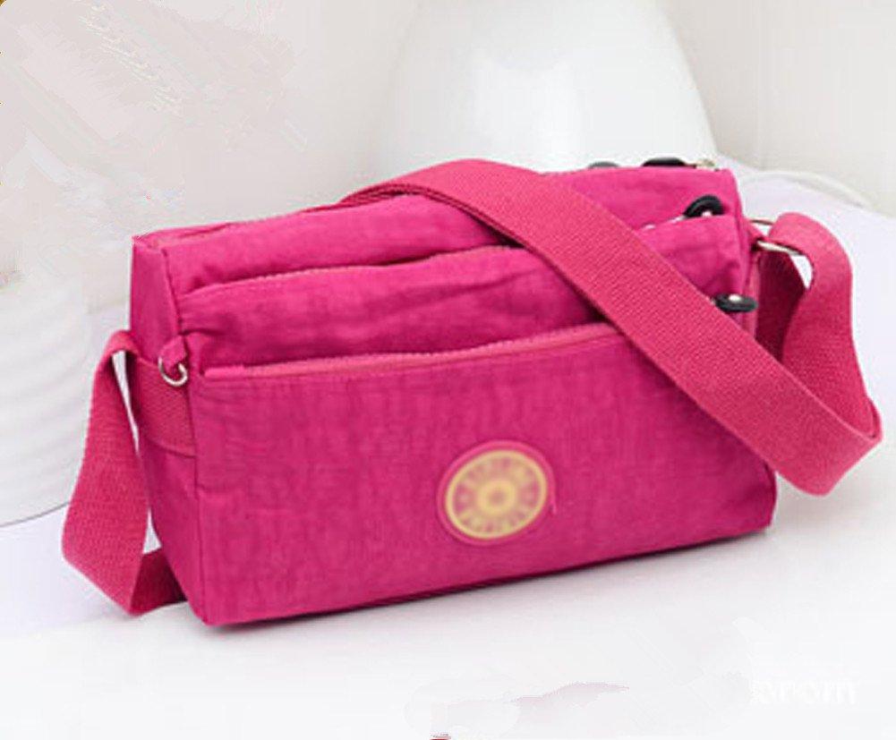 Ecokaki(TM) Fashion Waterproof Casual Multi-Pocket Crossbody Handbag Travel Lightweight Messenger Shoulder Bag for Women Girls, Rose