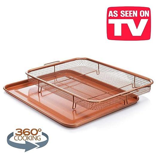 Bandeja de horno antiadherente con cesta de malla elevada, cobre ...