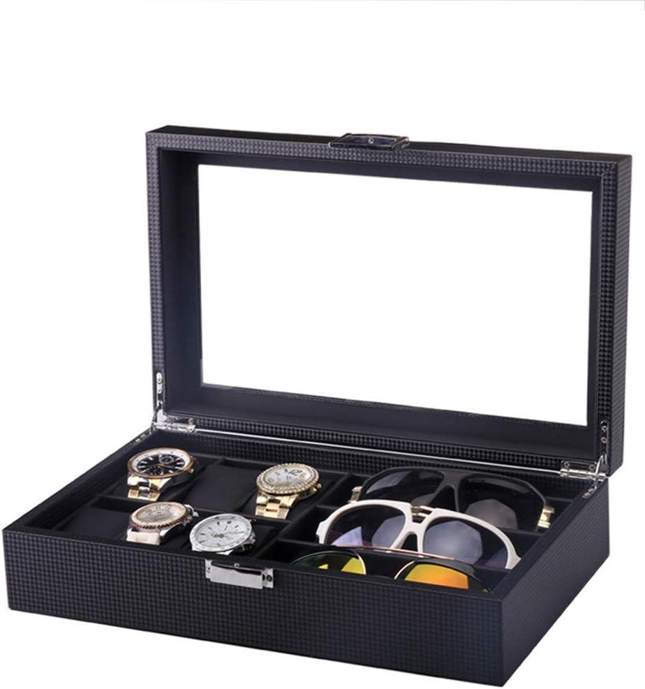 Heqianqian Watch Box Scatola portaoggetti in Pelle PU Scatola Porta Occhiali in Fibra di Carbonio (6 tavoli + 3 Bicchieri) Guarda La Collezione Organizer (Color : Brown) Black