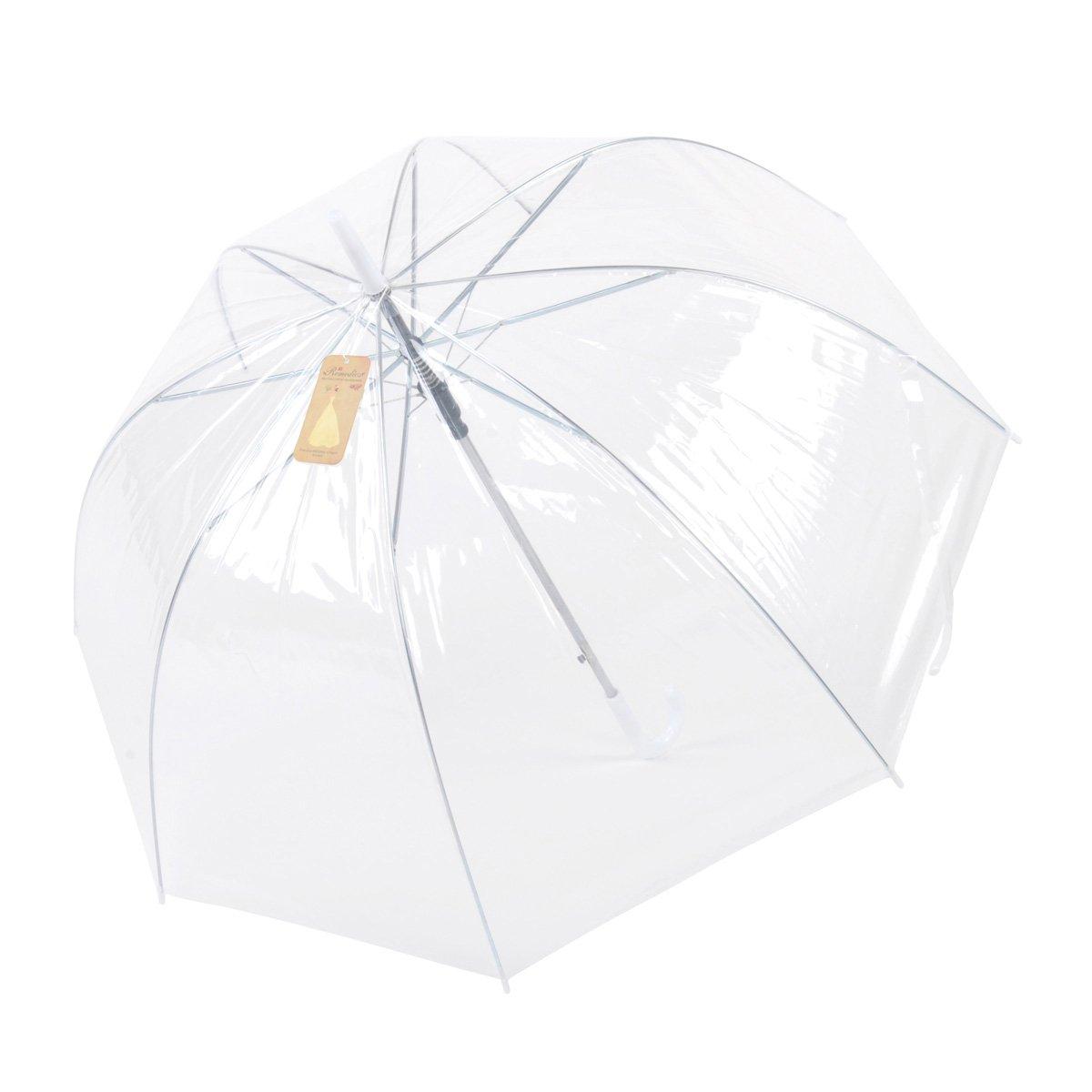 Topwedding Women's Dome Clear Transparent Automatic Rain Umbrella Parasol for Favor