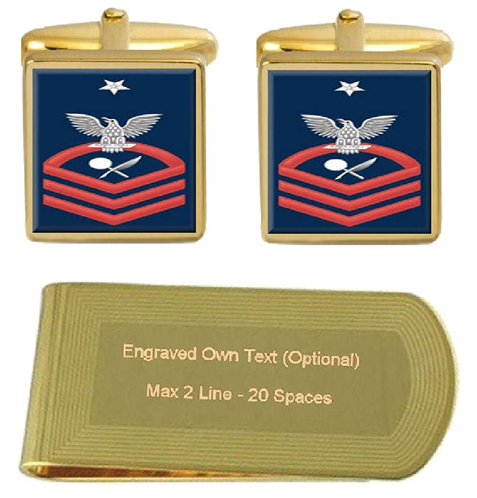 Cufflinks Engraved Money Clip U.S Navy Senior Chief Red E-8 Intelligence Specialist IS