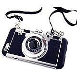 立体カメラ型 iPhoneケース iphone6 iPhone6s iPhone6Plus ネックストラップ付 (iPhone 5/5S/5E, ブラック)