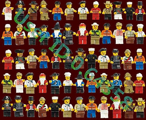 60Pcs Grab Bag Lot of Minifigures Figures Men People Minifigs from City Sets