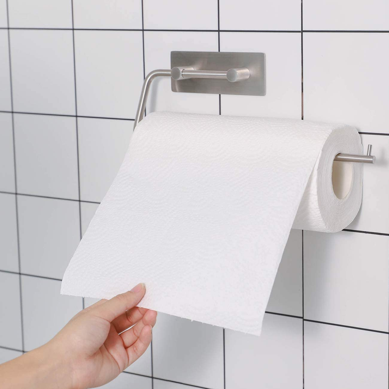 KES Paper Towel Holder 11 Inch Self Adhesive Kitchen Roll Dispenser Rustproof SUS304 Stainless Steel Wall Mount Brushed Finish A7073-2