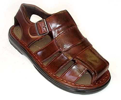 7362ea883d8b M. Brother New Mens Fisherman Comfort Closed Toe Cross Straps Light Weight  Sandals Brown
