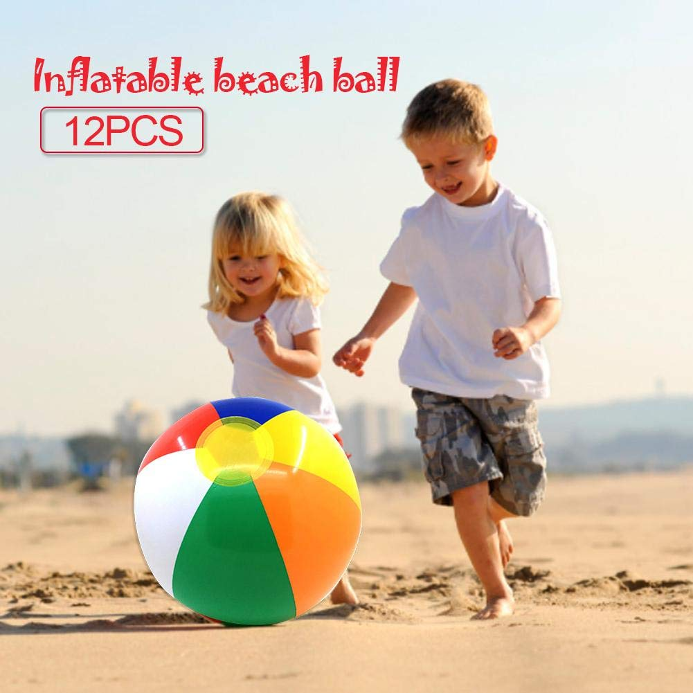 Adecuado para Juguetes de Playa y Agua o Juguetes de Piscina Varias Rayas de Arcoiris Basisago 12 Pack Pelota de Playa Hinchable 30cm de Diametro