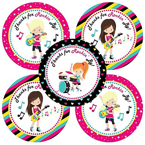 Rock Star Band Girl Thank You Sticker Labels - Music Birthday Baby Shower Party Supplies - Set of 30 (Note Star Seal)