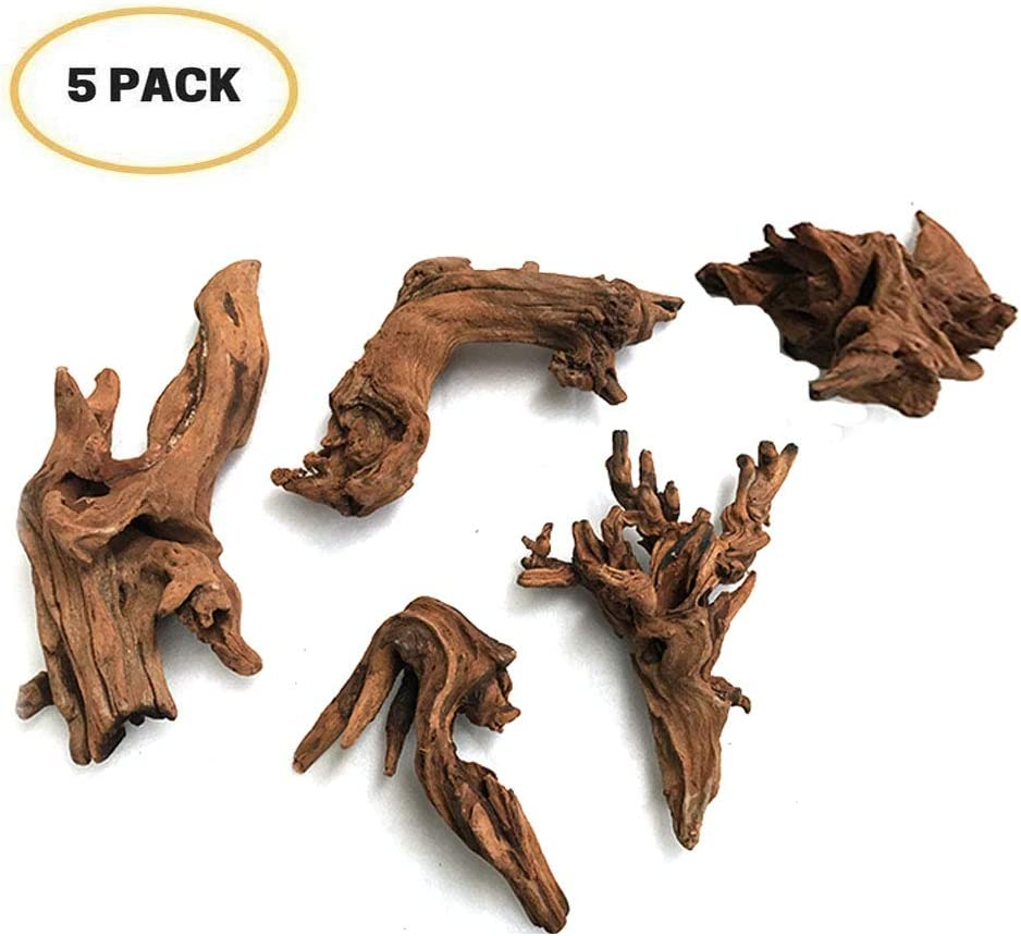 5Pcs Driftwood Branches Aquarium Wood Decoration Natural Fish Tank Habitat Decor Wood for Lizard Assorted Size,Small