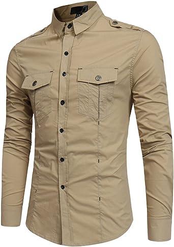 Camisas Formales Ocasionales para Hombre Camisas Color Sólido Oficina Remata con Botón