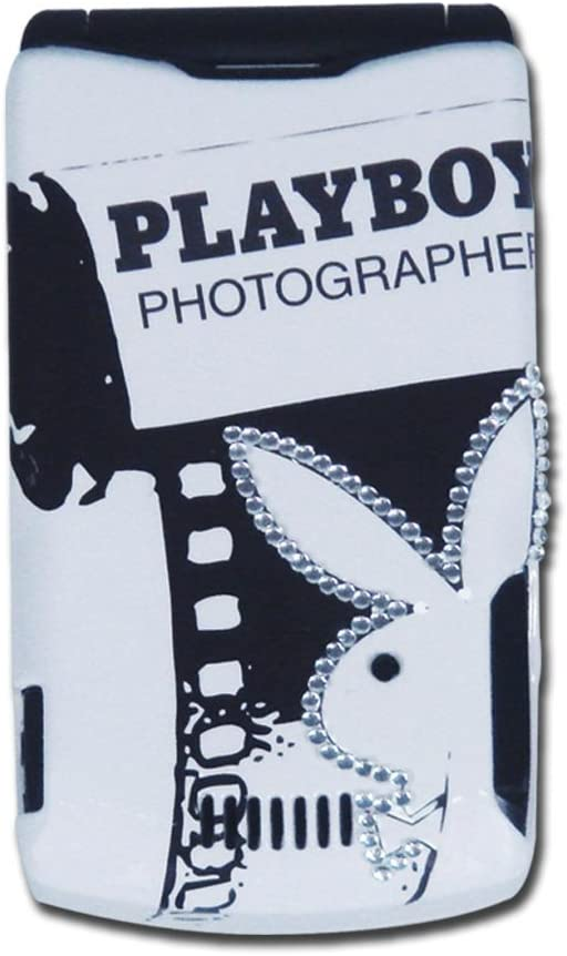 Licensed White Playboy Snap-On for V3 with Film Strip Design on the Back and Playboy Logo on the Front in Black