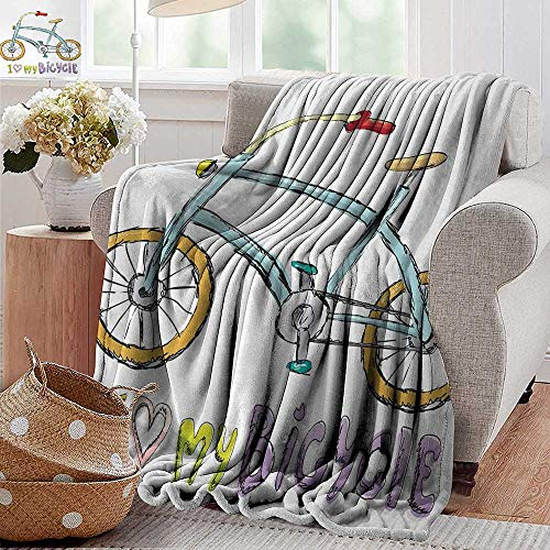- XavieraDoherty Printed Blanket,Bicycle,I Love My Bicycle Quote Print with A Little Fashionable Kids Bike with Pedals Cartoon,Multi,300GSM,Super Soft and Warm,Durable Throw Blanket 30