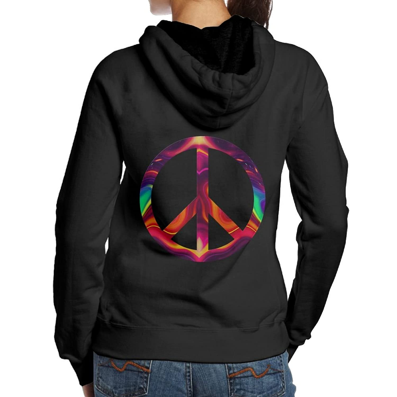 BIOD PLOP Psychedelic Peace Sign Women's Long Sleeve Casual Pullover Hoodies Sweatshirts Girl Hoodies