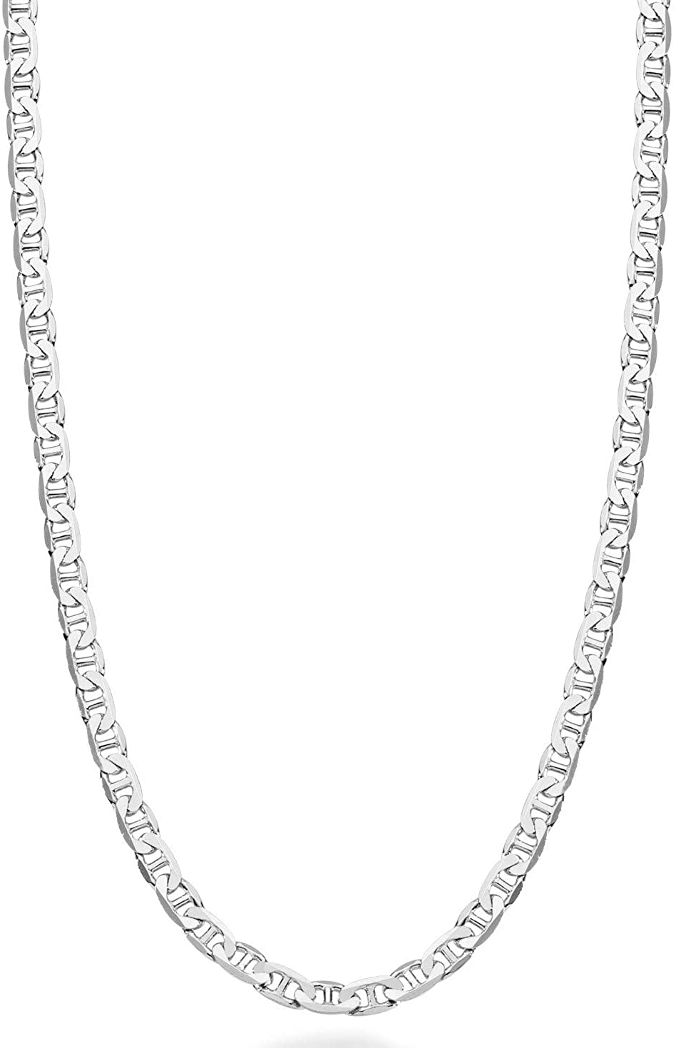 Miabella Solid 925 Sterling Silver Italian 3mm, 4mm, 6mm, 7mm Diamond-Cut Solid Flat Mariner Link Chain Necklace for Women Men, 16-30 Inch Made in Italy