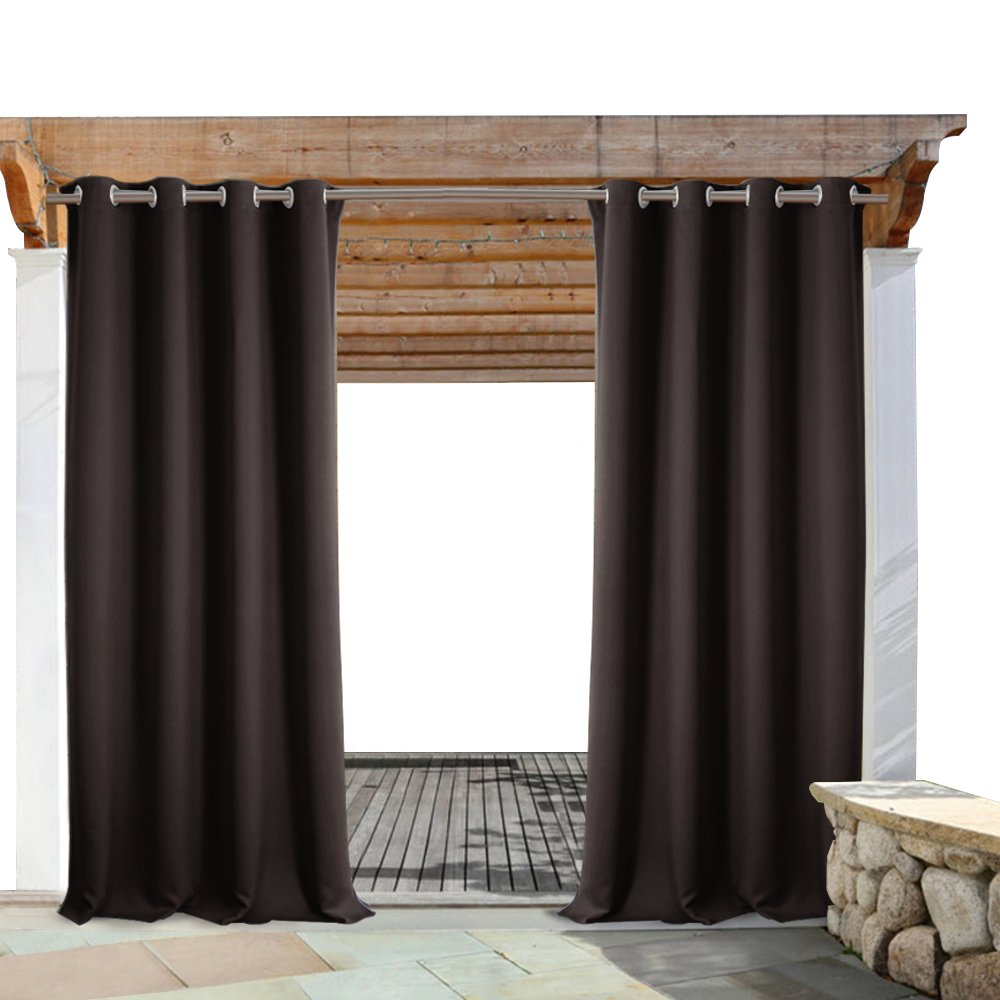 PONY DANCE Outdoor Curtain Drapes - All Season Waterproof Grommet Top Rust-Proof Light Block Drapery Shades for Porch/Patio Privacy, 52 x 108 Inch, Brown, 1 Panel