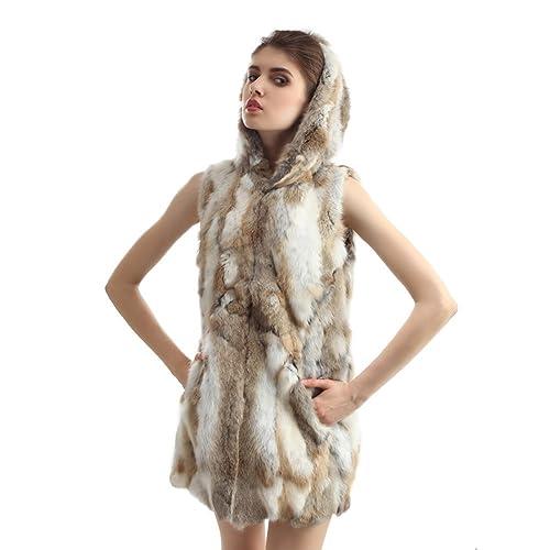 Vemolla Chaleco tejido y largo de la piel de conejo con gorro