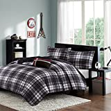 Black and White King Size Bedding Sets Mi-Zone Harley Full/Queen Size Teen Boys Quilt Bedding Set - Black, Plaid – 4 Piece Boys Bedding Quilt Coverlets – Ultra Soft Microfiber Bed Quilts Quilted Coverlet