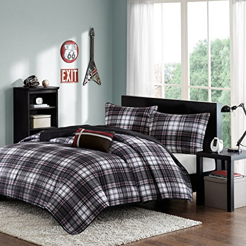 Mi-Zone Harley Full/Queen Size Teen Boys Quilt Bedding Set - Black, Plaid - 4 Piece Boys Bedding Quilt Coverlets - Ultra Soft Microfiber Bed Quilts Quilted Coverlet Boys Queen Quilt Bedding