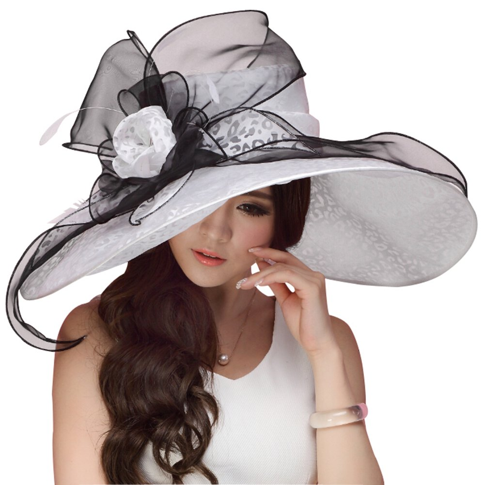 June's Young Women Hats Summer Big Hat Wide Brim Top Flower White Black (White Black)