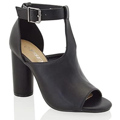 003e6169131f New Womens Cylindrical Heel Ladies Cut Out Peep Toe Ankle Strap Shoe Boots   Amazon.co.uk  Shoes   Bags