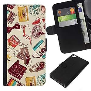 All Phone Most Case / Oferta Especial Cáscara Funda de cuero Monedero Cubierta de proteccion Caso / Wallet Case for HTC Desire 820 // arte moderno tecnología de casete retro