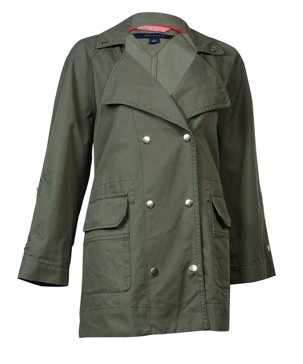 Tommy Hilfiger Women's Double Pocket Utility Jacket [M] [Dusty Olive]