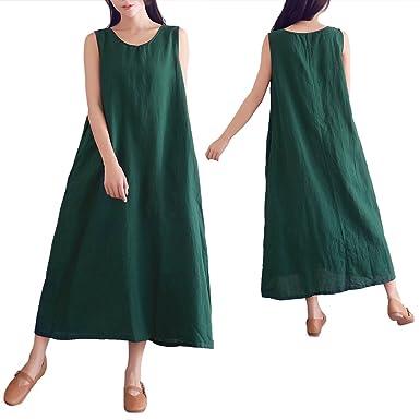 Eazon Women Dresses Casual Cotton Linen Dress Plus Size Maxi Dresses