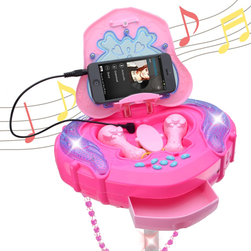 WISHTIME Girls Karaoke Machine Music Toys Multifunction Music Player Fashion Happy Girls Female Bag Box Music Light 1 Microphone 1 AUX Cable Kids 3+ by WISHTIME (Image #5)