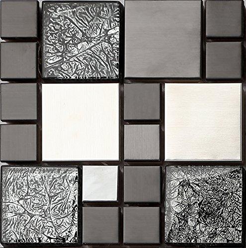 Ht0002 Mattonelle In Acciaio Inox E Vetro Effetto Mosaico In Nero
