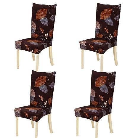Feilaxleer Fundas para sillas Comedor elásticas Universal Pack de 4,Cubiertas para sillas Respaldo Alto para hogar, Hotel, Banquetes,impresión Floral