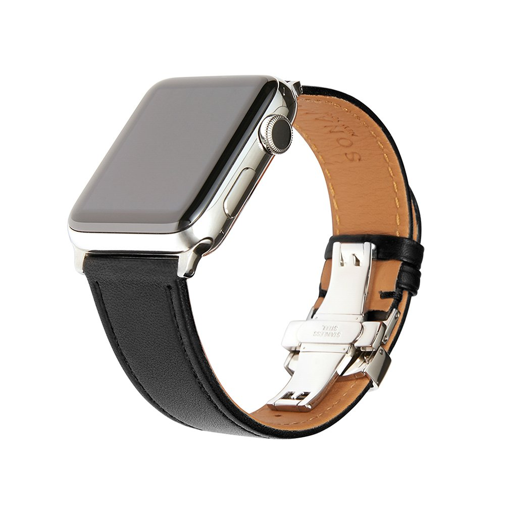 SONAMU New York, Apple Watch Band 42mm / 44mm, French Barenia Premium Leather Strap Compatible with Apple Watch Leather Band Stainless Steel Clasp, Black