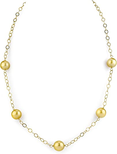 """18/"""" AAA 9-10MM SOUTH SEA GOLD PEARL NECKLACE 14K YELLOW GOLDEN CLASP"""