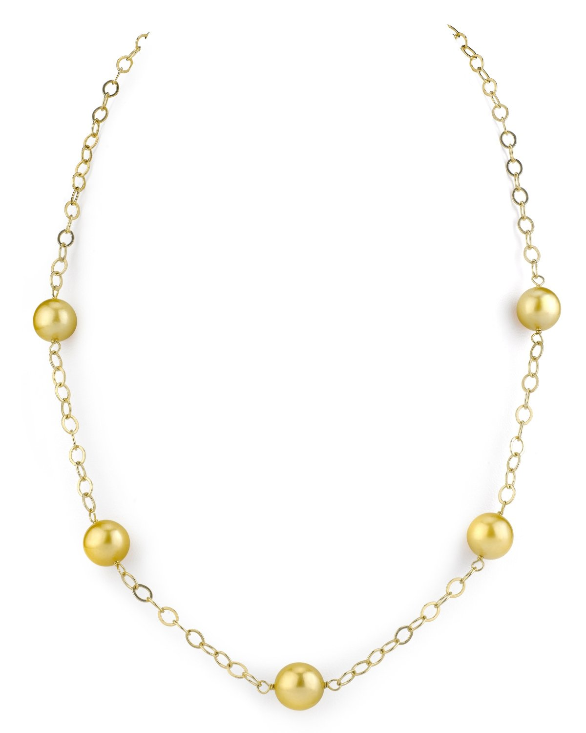 THE PEARL SOURCE 14K Gold 9-10mm Round Genuine Golden South Sea Cultured Pearl Necklace in 18'' Princess Length for Women