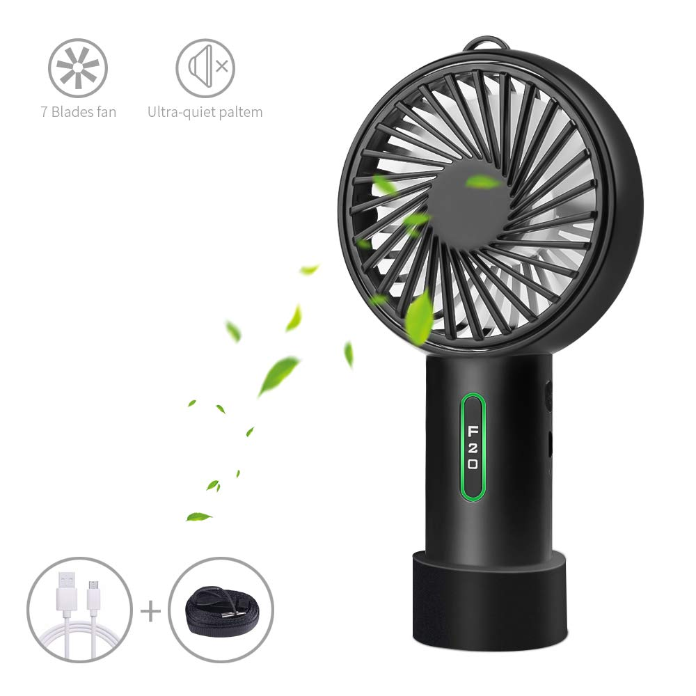 LOBKIN Foldable Personal Portable Mini Desk Fans with USB Rechargeable 2600mAh Battery Operated Electric Fan for Office Room Outdoor Household Traveling BBQ,Picnic (Black(Updated Version)) by LOBKIN