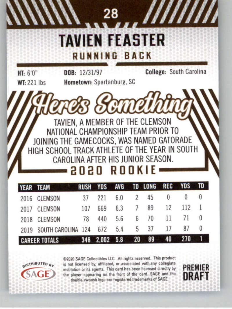 2020 SAGE HIT Premier Draft #28 Tavien Feaster RC Rookie South Carolina Gamecocks Football Trading Card