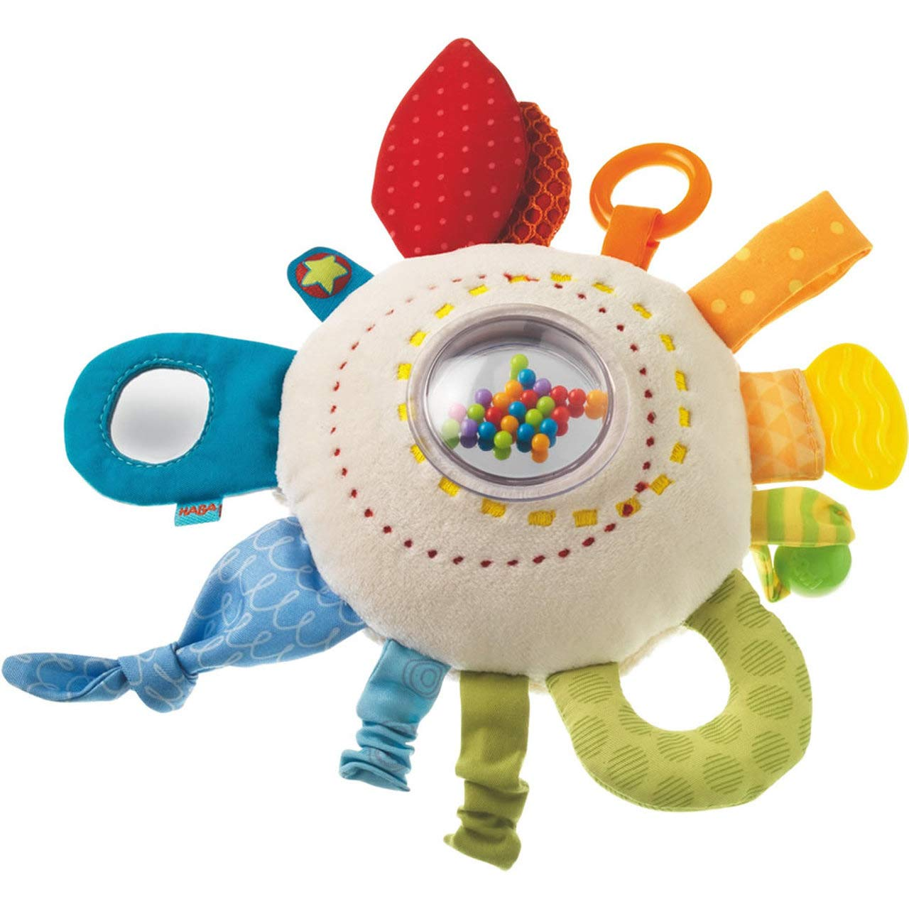HABA Teether Cuddly Rainbow Round - Soft Activity Toy with Rattling & Teething Elements by HABA