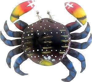 OMA Metal Crab Wall Decor Art Hand Painted Sea Ocean Blue Crab Beach Tiki Bar Home Decor Gift