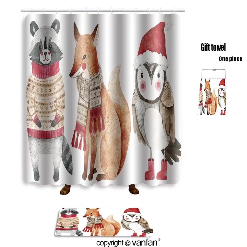 vanfan bath sets Polyester rugs shower curtain christmas watercolor animals set fox raccoon shower curtains sets bathroom 66 x 72 inches&23.6 x 15.7 inches(Free 1 towel 12 hooks)