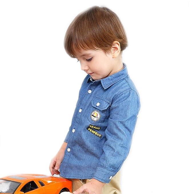 BHYDRY Ropa Infantil Camiseta para niños pequeños bebés, bebés, Denim, Estampado de Dibujos Animados, Camiseta Tops: Amazon.es: Ropa y accesorios