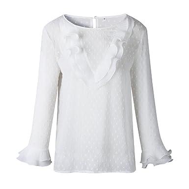 Longra❤ ❤ Camiseta Casual de Lunares de Encaje para Mujer, Blusa con Volantes de Encaje de Princesa: Amazon.es: Ropa y accesorios