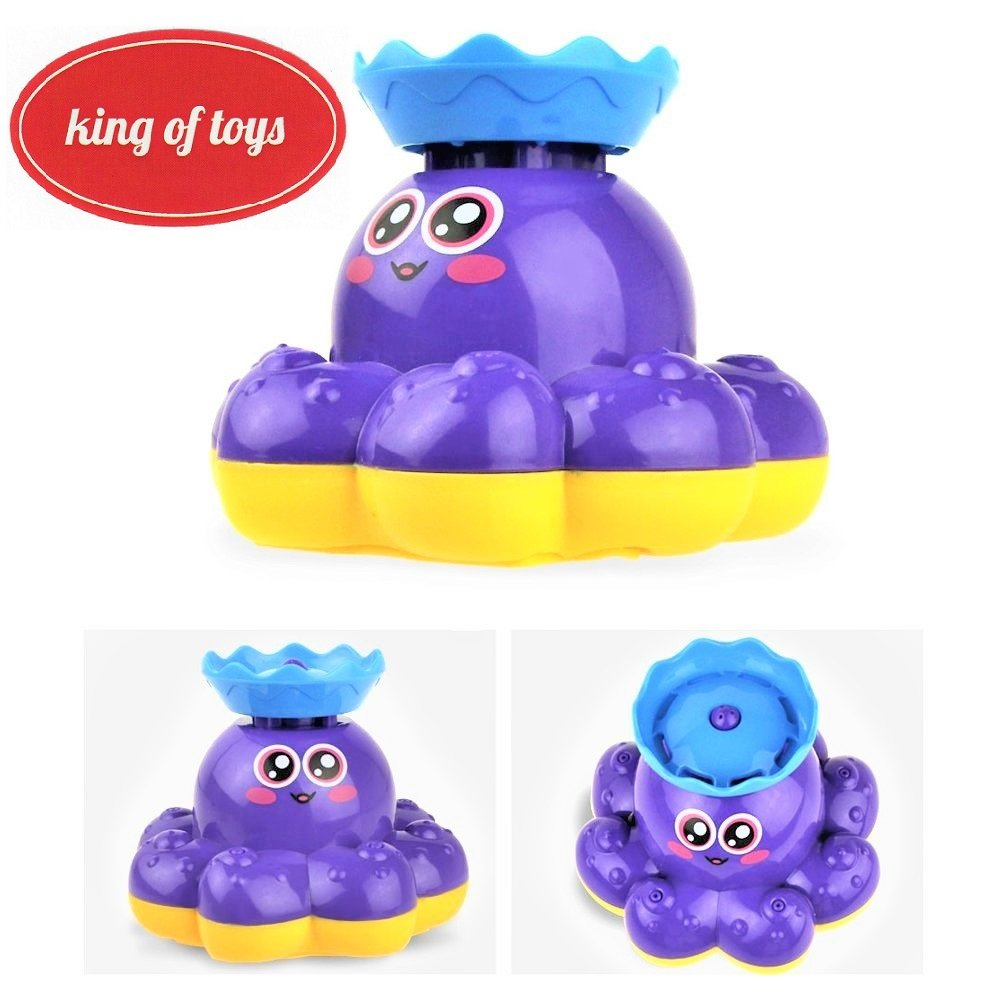 Bath Toy Waterfall Water Spray Octopus Can Float Rotate With Fountain In Bathtub Or Pool king of toys