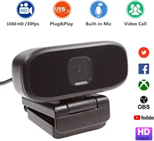 SIXGO Webcam with Microphone,1080P HD Web Camera Computer Camera 360 Degree rotatable PC Laptop Desktop Camera USB Plug and Play for Studying Online Video Conferencing Recording Streaming (1080P)