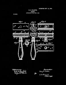 """Gillette Razor Patent Print Black Matte (11"""" x 14"""") M10878"""