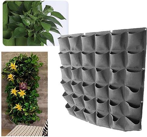 Pawaca Macetero de pared, maceta de pared vertical para jardín, maceta de jardín con bolsillos, bolsas para colgar flores para decoración de interiores o al aire libre., negro, 36 pockets: Amazon.es: Hogar