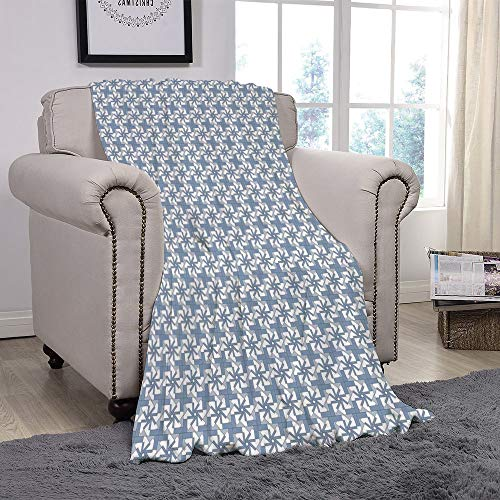 YOLIYANA Light Weight Fleece Throw Blanket/Geometric,Complex Abstract Forms with Graphic Flowers Squares Repeating Pattern,Slate Blue Blue White/for Couch Bed Sofa for Adults Teen Girls -