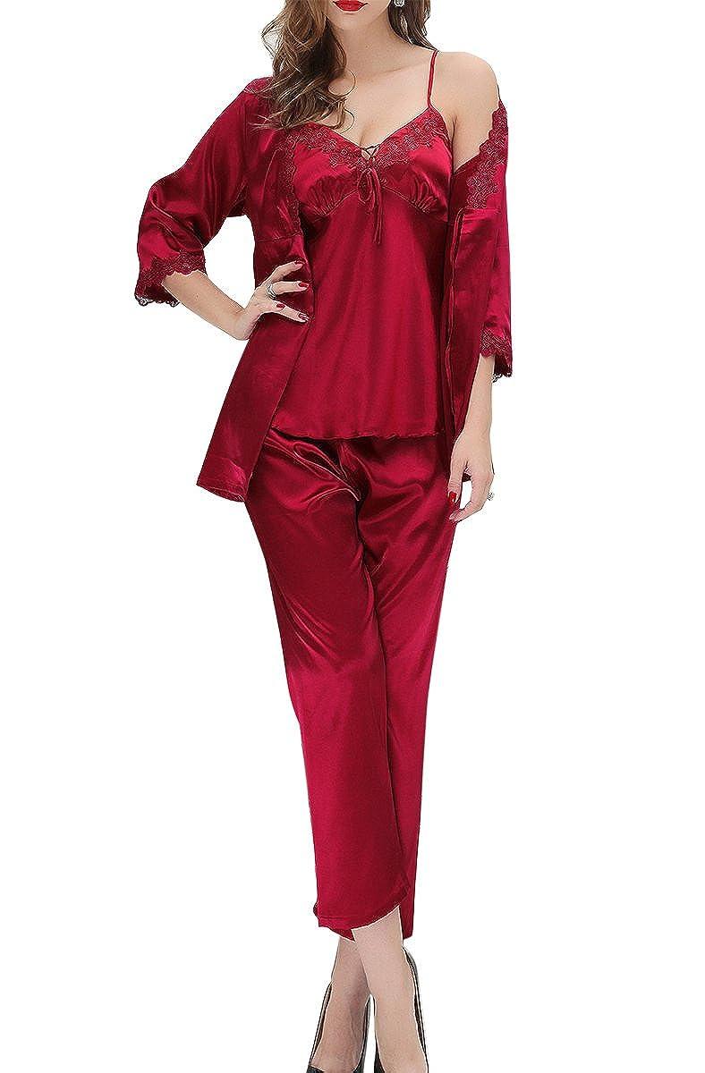 Aivtalk - Mujeres Set de 3 Piezas Pijama de Seda Imitación Chaleco de Escote en V con Bata de Mangas Largas y Pantalones Largos Ropa de Dormir Talla L-XL,Rojo, Rosa, Champán