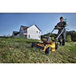 Dewalt 20v max lawn mower, 3-in-1, 2 batteries (dcmw220p2) 22 push mower comes with powerful brushless motor and (2) 20v max* batteries working simultaneously for high power output. 3-in-1 push lawn mower for mulching, bagging and side discharging battery lawn mower has heavy-duty 20-inch metal deck