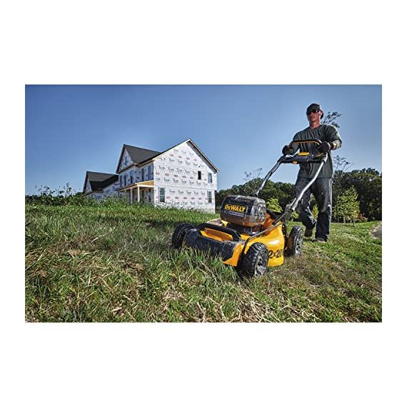 Dewalt 20v max lawn mower, 3-in-1, 2 batteries (dcmw220p2) 6 push mower comes with powerful brushless motor and (2) 20v max* batteries working simultaneously for high power output. 3-in-1 push lawn mower for mulching, bagging and side discharging battery lawn mower has heavy-duty 20-inch metal deck