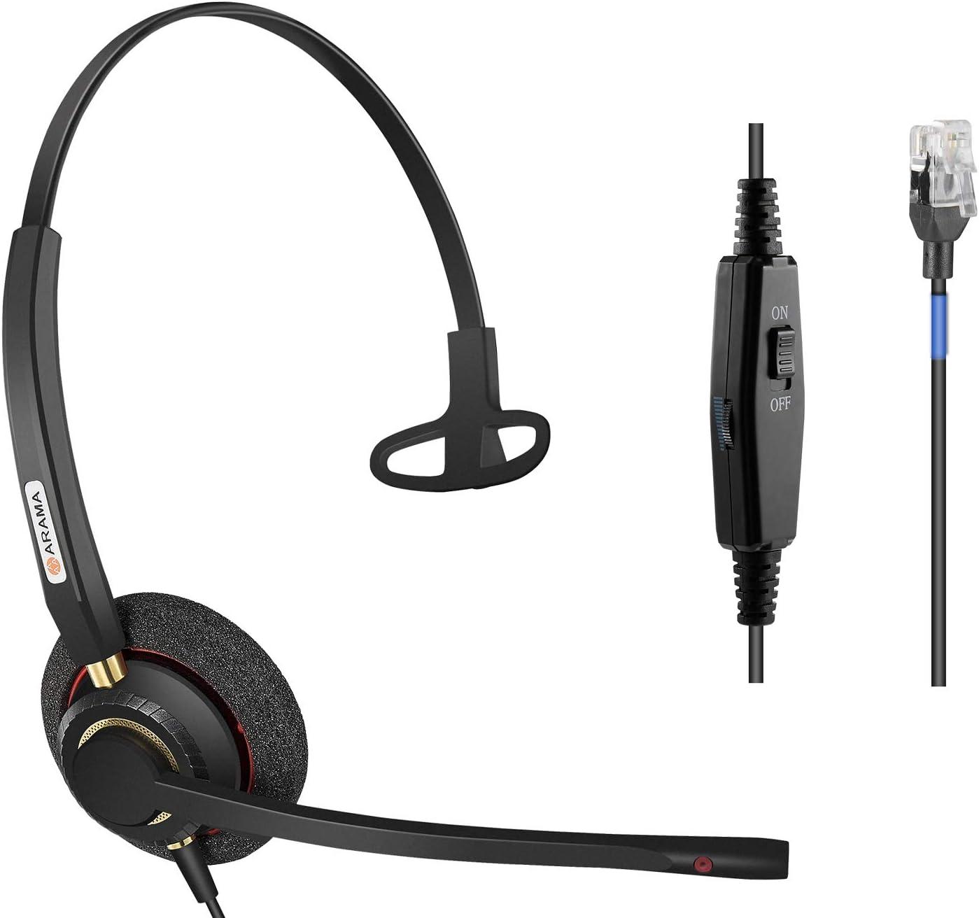 Arama Phone Headsets RJ9 with Noise Cancelling Mic for Polycom VVX311 VVX410 VVX411 VVX500 Mitel 5220e 5330e 5330 5340 Avaya 1408 1416 5410 ShoreTel 230 420 480 NEC Landline Phones (A800S)
