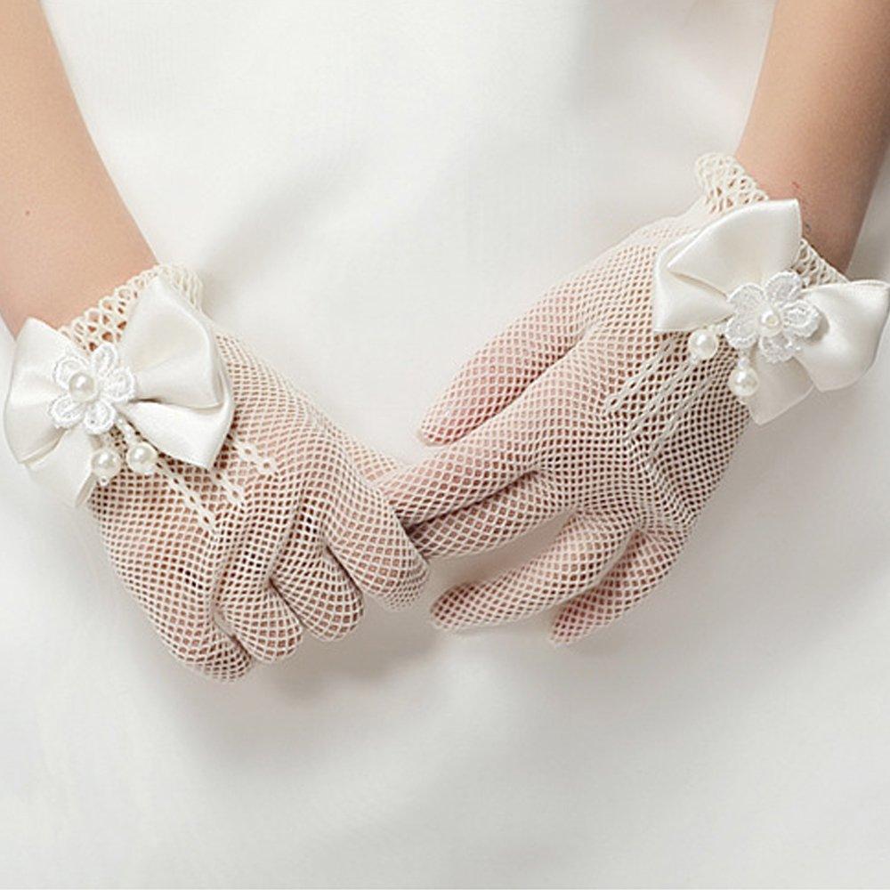 JISEN Girl Bowknot Flower Net Voile Yarn Wedding Wrist Princess Gloves Off White 7 Inch